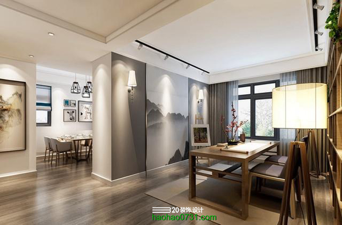 中式客厅装修效果图,新中式,新古典风格,长沙室内设计师培训
