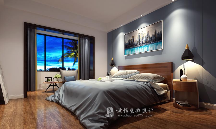 工业风格卧室效果图,灰色调主卧室效果图